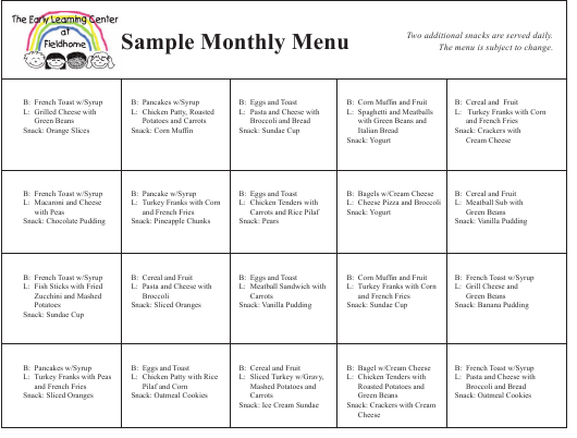 """Sample """"Monthly Menu - the Early Learning Center at Fieldhome"""" - New York Download Pdf"""