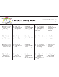 Sample Monthly Menu - the Early Learning Center at Fieldhome