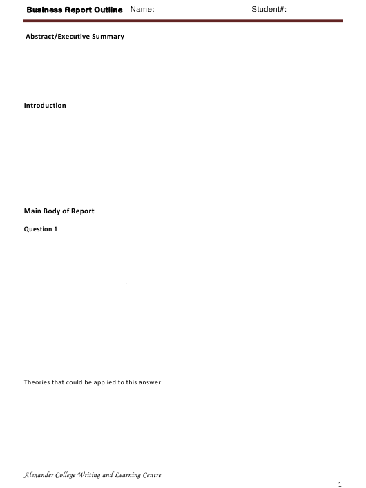 """""""Business Report Outline Template - Alexander College Writing and Learning Centre"""" Download Pdf"""
