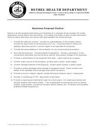 """Business Proposal Outline Template"" - Town of Bethel, Connecticut"
