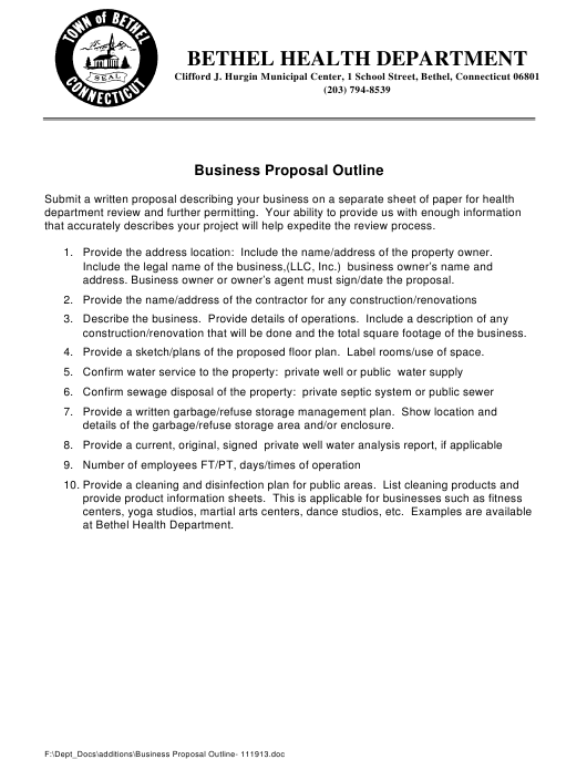 """Business Proposal Outline Template"" - Town of Bethel, Connecticut Download Pdf"