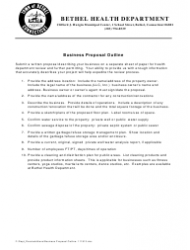 Business Proposal Outline Template - Town of Bethel, Connecticut