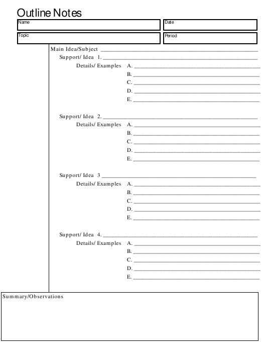 """Essay Outline Notes Template"" Download Pdf"