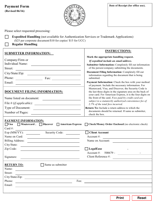 """""""Payment Form"""" - Texas Download Pdf"""
