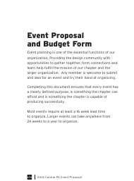 """Event Proposal and Budget Form - Aiga"" - Pennsylvania"