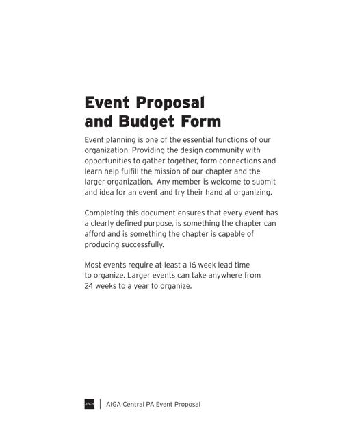 """Event Proposal and Budget Form - Aiga"" - Pennsylvania Download Pdf"