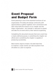 Event Proposal and Budget Form - Aiga - Pennsylvania