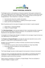"""Grant Proposal Budget Template - Prolifica"""