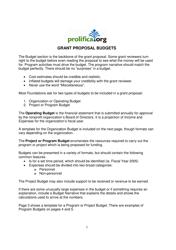Grant Proposal Budget Template - Prolifica