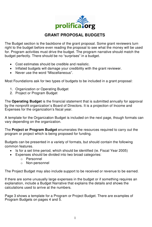 Grant Proposal Budget Template - Prolifica Download Printable PDF