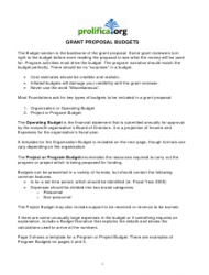 Grant Proposal Budget Template - Prolifica