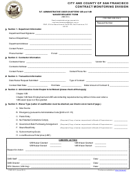 "Form CMD-201 ""Waiver Request Form"" - City and County of San Francisco, California"