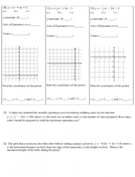 Graphing Quadratic Functions In Standard Form Worksheet Download