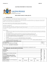 Form GDE 2R Employment Profile Form - Gauteng South Africa