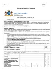 Form GDE 2R Employment Profile Form - Gauteng