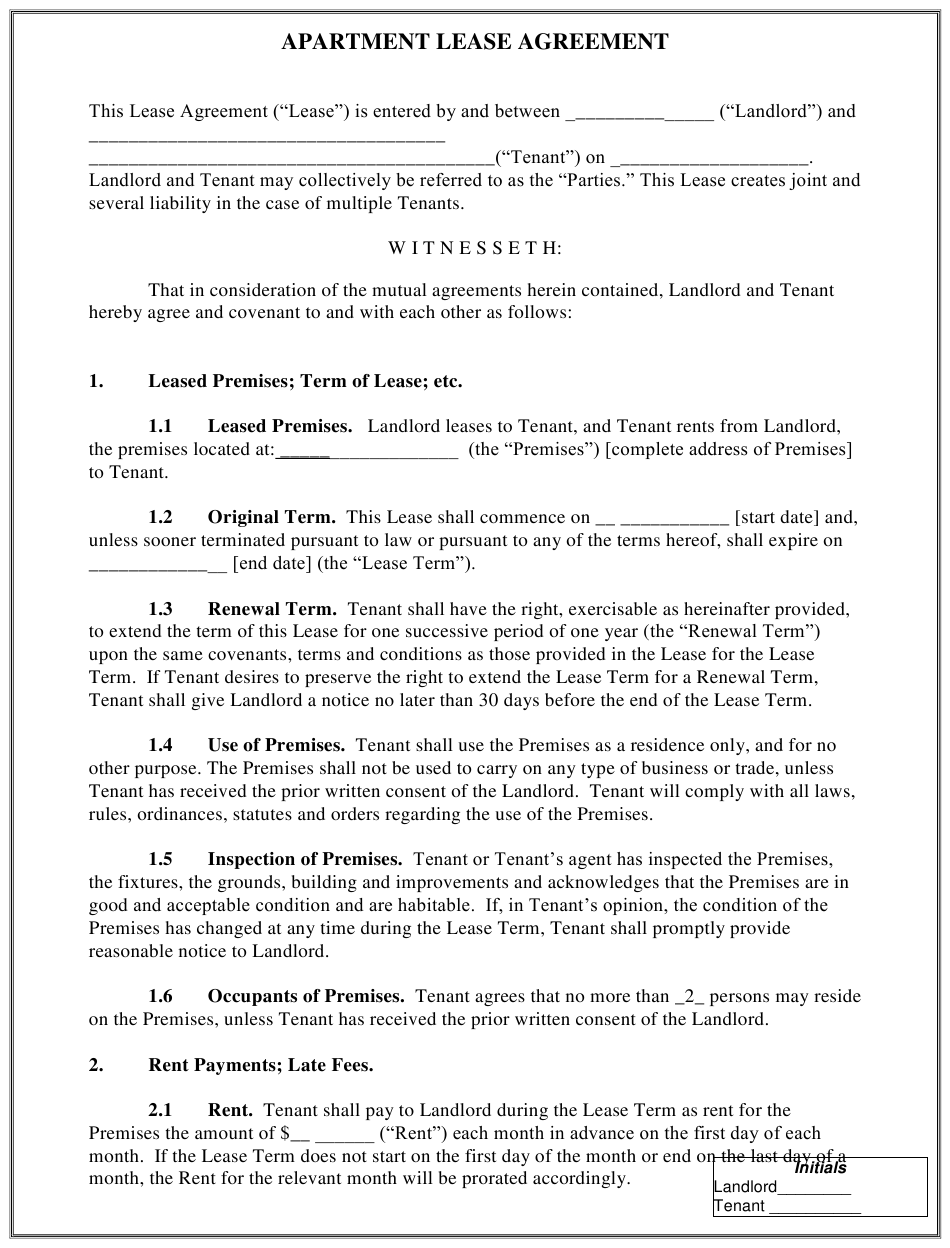 Chicago Illinois Apartment Lease Agreement Template Download Printable Pdf Templateroller