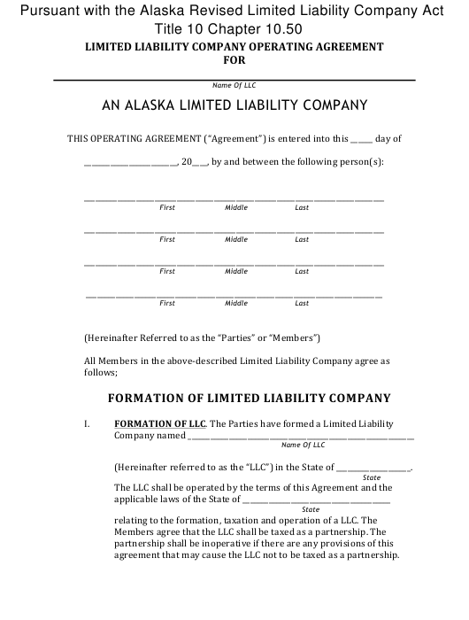 """Limited Liability Company Operating Agreement Template"" - Alaska Download Pdf"