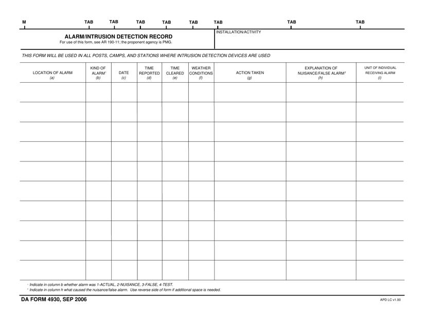 DA Form 4930  Printable Pdf