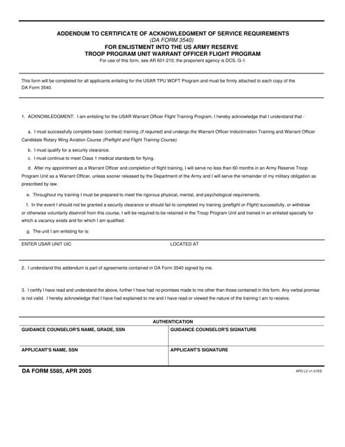 DA Form 5585 Fillable Pdf