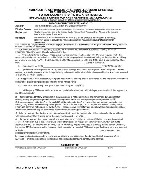 DA Form 7004-r  Fillable Pdf