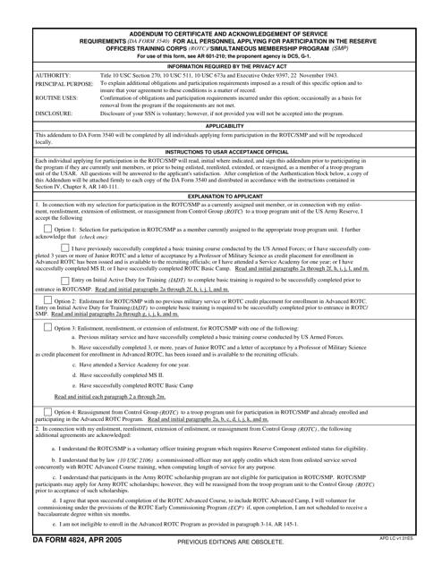 DA Form 4824 Printable Pdf