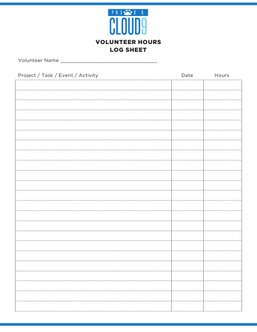 """Volunteer Hours Log Sheet - Phoenix on Cloud 9"" Download Pdf"