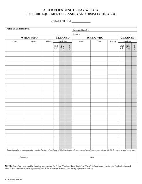 Form BBC14  Printable Pdf
