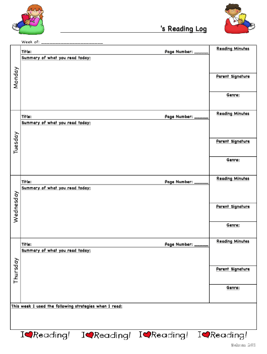 5th Grade Reading Log Template Download Pdf