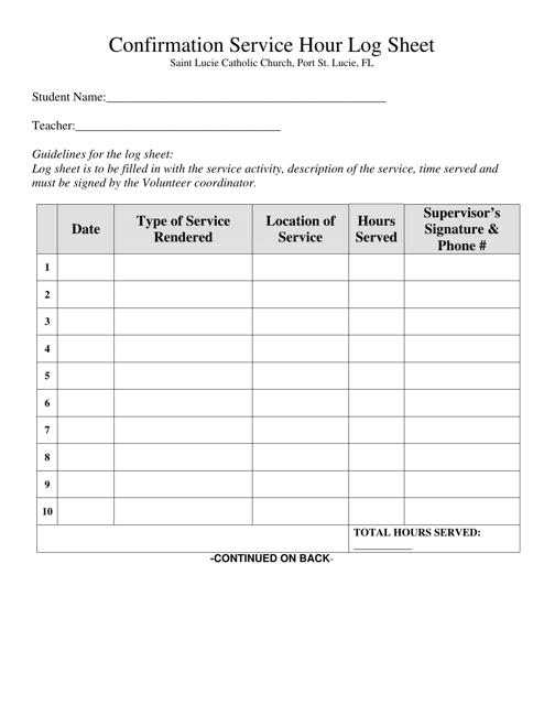 Confirmation Service Hour Log Sheet - Saint Lucie Catholic