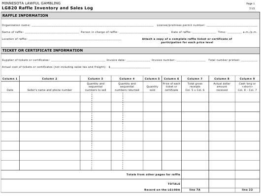 Form LG 820 Download Printable PDF, Raffle Inventory and