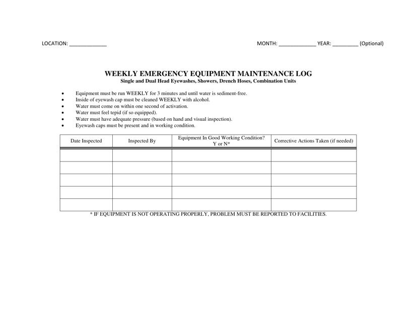 """Weekly Emergency Equipment Maintenance Log Template"" Download Pdf"