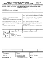 DD Form 1870 Nomination for Appointment to the United States Military Academy, Us Naval Academy, Us Air Force Academy