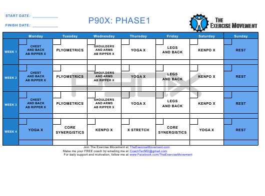 """P90x Workout Schedule (Phase 1, 2, 3) - the Exercise Movement"" Download Pdf"