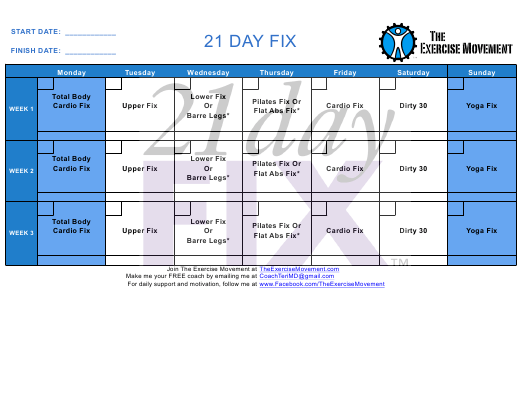 """""""21 Day Workout Schedule Template - the Exercise Movement"""" Download Pdf"""