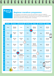 """""""Beginner Marathon Programme Schedule Template - Bupa"""""""