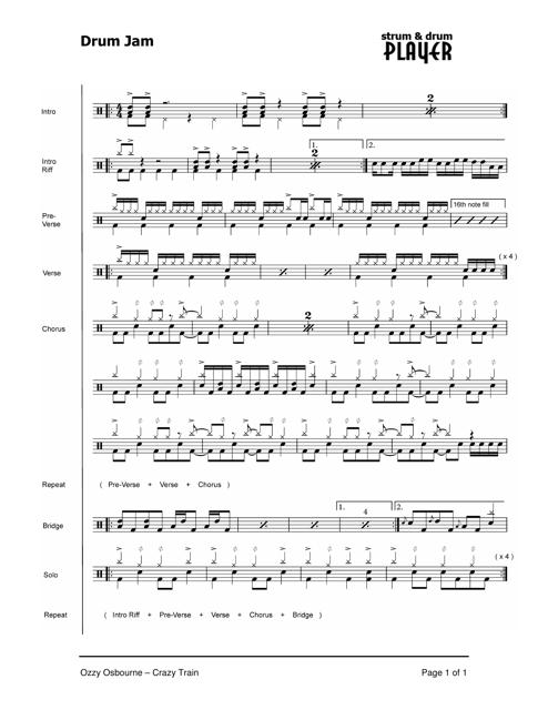Ozzy Osbourne - Crazy Train Drum Sheet Music Download