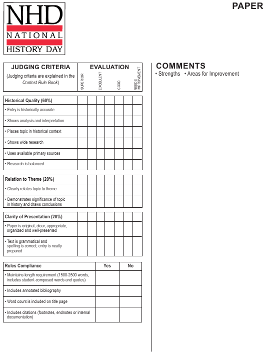 """Student Evaluation Form - National History Day"" Download Pdf"