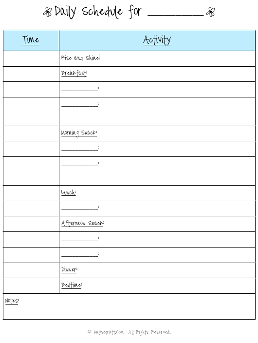"""Daily Schedule Template for Kids"" Download Pdf"