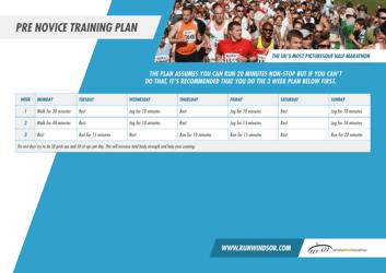 """Pre Novice Marathon Training Schedule - Windsor Half Marathon"""