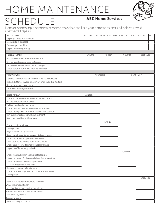 Home Maintenance Schedule Template Abc Home Services Download Printable Pdf Templateroller