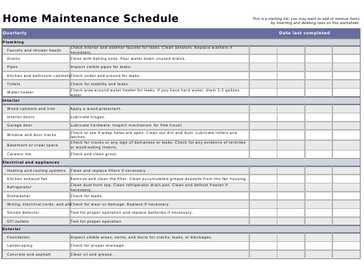 """""""Quarterly Home Maintenance Schedule Template"""" Download Pdf"""