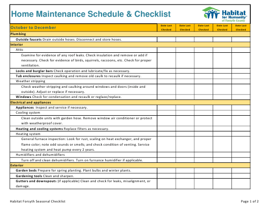 """Home Maintenance Schedule & Checklist Template - Habitat for Humanity"" Download Pdf"