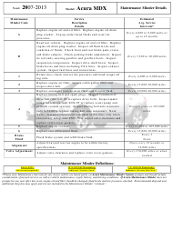 """Maintenance Schedule Template for 2007-2013 Acura Mdx Car Models - Acura"""