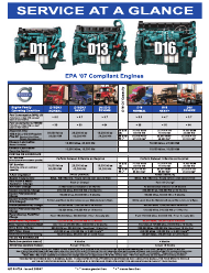 """Maintenance Schedule for EPA '07 Compliant Engines - Volvo"""