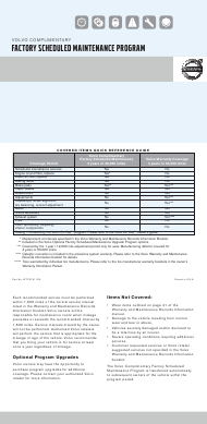 """Factory Scheduled Maintenance Program Checklist Template - Volvo"""