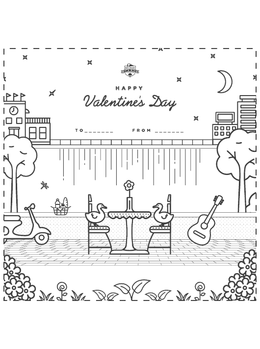 Ducks\' Date Happy Valentine\'s Day Coloring Sheet Download ...