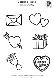 """Valentine's Day Symbols Coloring Sheet"""