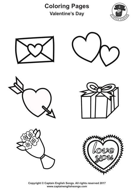 Valentine S Day Symbols Coloring Sheet Download Printable Pdf Templateroller