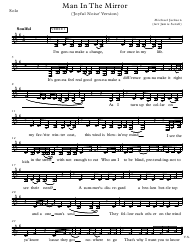 """Michael Jackson - Man in the Mirror Solo Sheet Music ('joyful Noise' Version)"""