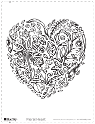 """Floral Heart Coloring Sheet"""